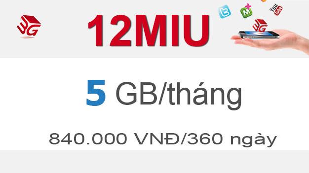 Đăng ký gói cước 12MIU Mobifone có ngay 5GB giá 840.0