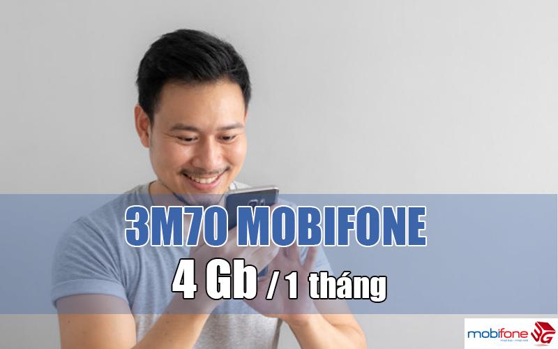 đăng ký gói 3M70 Mobifone có ngay 4GB/ Tháng