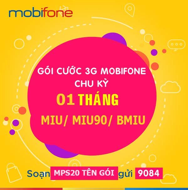 Cách đăng ký 3G Mobi 1 tháng với gói cước MIU