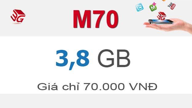 Đăng ký gói cước M70 Mobifone có ngay 3,8GB giá 70.000