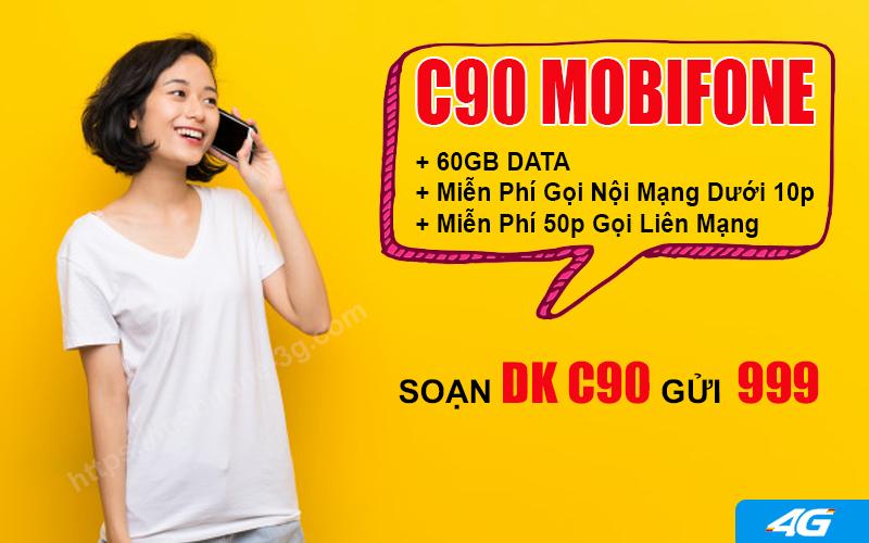 đăng ký gói C90 Mobifone có 60GB + Miễn phí gọi nội mạng