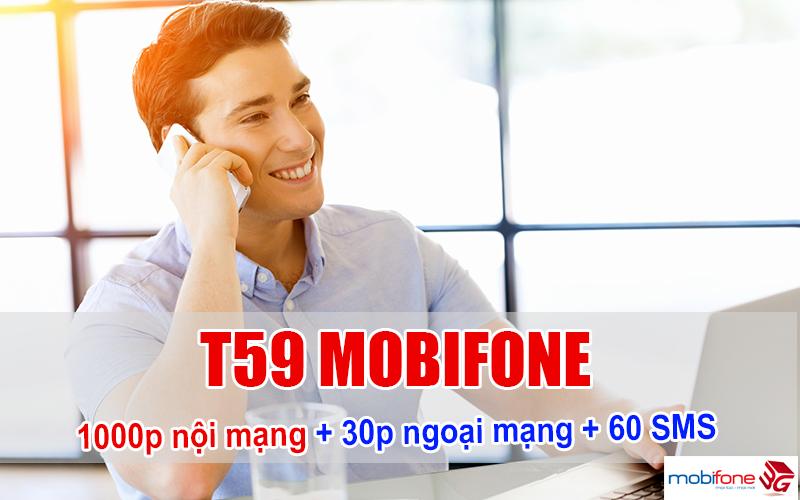 Đăng ký gói T59 Mobifone giá rẻ 59.000đ có 1000 phút nội mạng